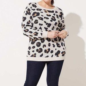 Loft Plus Leopard Jacquard Sweater Pullover 20/22